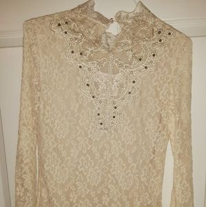 Lace and beaded fitted top